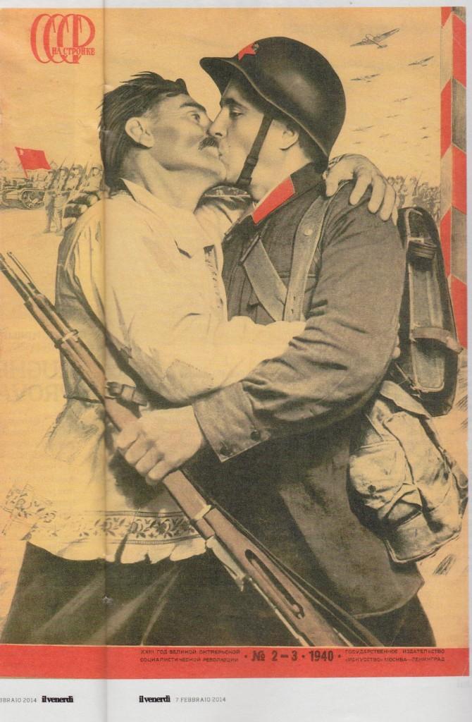 Manifesto propaganda di guerra, il soldato e il contadino uniti. Firmato da El Lissitzky